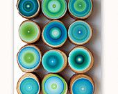 12 Large Tree Rings Amazing Colors Abstract Paintings on Wood  See Close Ups