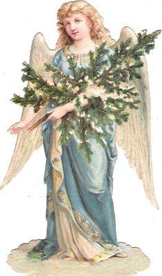 Oblaten Glanzbild scrap die cut chromo Winter Engel XL angel XMAS tree snow MICA…