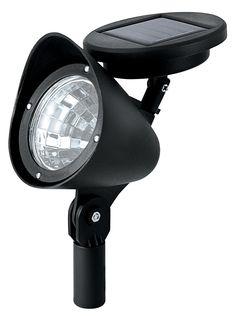 paradise garden lighting plastic spotlight with attached solar panel 3 white led per spot in black