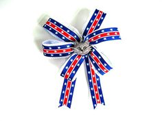 Cat collar decoration, Gift for a cat, Bow for cat treats, Small handmade bow, Gift wrap bow, 4th of July cat bow, Patriotic cat bow (DC55)