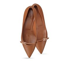 """Lauren Hermes ladies' pump in calfskin with rose gold plated """"Double H"""" buckle, 1.5"""" heel, leather sole, leather lining"""