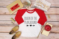 Queen of the Playground Shirt; Back to School Shirt; Baby and Children's Back to School Tee; Kindergarten Shirt; Preschool Shirt; Pre-K Tee by beachtownbaby on Etsy https://www.etsy.com/listing/242578073/queen-of-the-playground-shirt-back-to