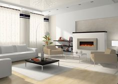 Enduring and Unique the Amantii BLT-IN-5124 Electric Fireplace - Moderno Style - is designed to be wall mounted or built-in. 39 3/8 Fireplace features 51 x 24 Concrete Surround that is available in two colors: Tuscan Cream & Venetian Grey.