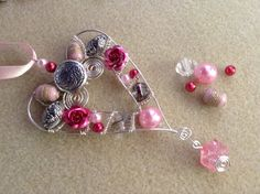 Beaded silver plated wire heart by SewingNikki on Etsy