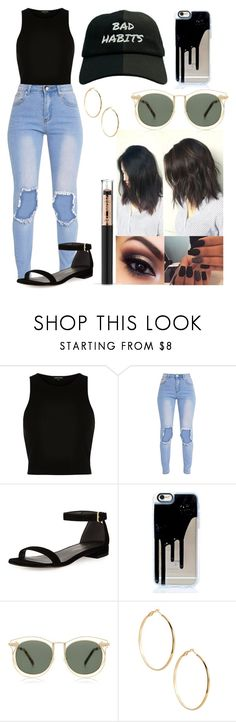 """""""Bad Habits"""" by ae-sthetic ❤ liked on Polyvore featuring River Island, Stuart Weitzman, Karen Walker, GUESS by Marciano and passionforfashion"""