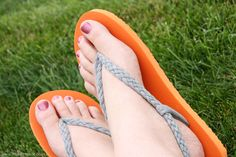 Dollar Store Crafts » Blog Archive » Redo a Pair of Flip Flops with Braided T-Shirt Straps