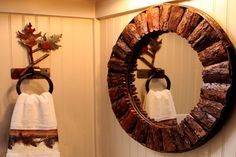 Wood bark sunburst round mirror, rustic with modern style
