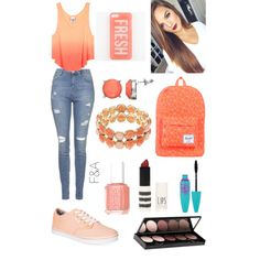 Ombré Coral by fasha0903 on Polyvore featuring polyvore, fashion, style, Topshop, Vans, Herschel Supply Co., Napier, Apt. 9, Witchery, Maybelline and Essie