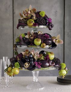 Aubergine, lime, and cream floral arrangement.