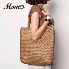 2016 New Summer Shoulder Bag Beach Large Straw Bags Handmade Woven Tote Designer Vintage Shopping HandBags Basket Bag