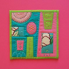 """Abstract # 4    Embroidered mini art quilt. 6"""" x 6"""". Machine pieced and appliqued. Hand embroidered. Part of an ongoing series."""