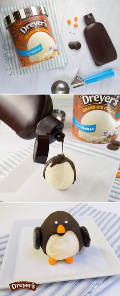 Dreyer's Ice Cream Penguin: Penguins are the coolest. Just ask your kids. And then help them bring these fun frozen treats to life. Just cover the top and sides of a scoop of Dreyer's Vanilla ice cream with a hardening chocolate shell. Quickly let your kiddos dot on an orange jellybean beak, two white sprinkle eyes, two jellybean flippers and two chocolate cookie wings.