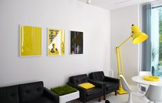 Black white yellow decor