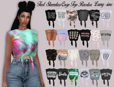 Tied Sleeveless Crop Top Recolor at Lumy Sims via Sims 4 Updates  Check more at…