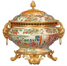 French 19th Century Famille Rose Porcelain Centerpiece With Exquisitely Chased L