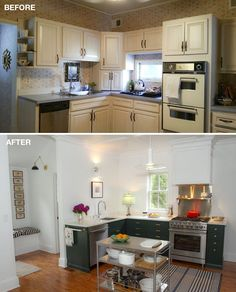 frumpy old house kitchen renovation - Benjamin Moore hunter green cabinets - before and after