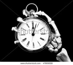 Time'S Up! Skeleton Hand Holds Pocket Watch, Slight Movement In The Minute Hand Stock Photo 47669008 : Shutterstock