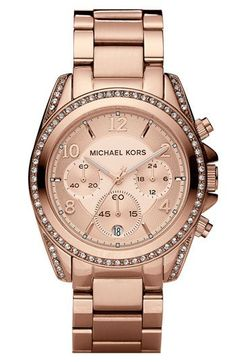 michael kors rose gold boyfriend watch with swarovski crystals.