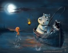 Hope Hippo Sculpture | Fishing Hippo O_o by fandygembuk
