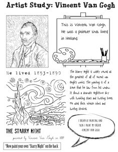 Inspiration Organization: Artist Study: Vincent Van Gogh Source by patmital Arte Van Gogh, Van Gogh Art, Art Van, Classe D'art, Art Handouts, Art History Lessons, Art Worksheets, Ecole Art, Art Curriculum