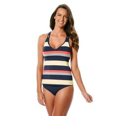 6b68f2b6c7 Jag Swim Newport Stripe Crisscross Back Tankini Top Navy Striped Tankini, Tankini  Top, Yellow