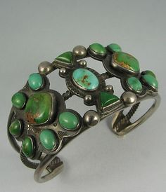 Old Classic Navajo Cerrillos Mine Turquoise Tri-Cluster Bracelet