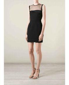 Black Cocktail Mini Dress Sheer Yolk Stretch Knit 55ef4ce2d