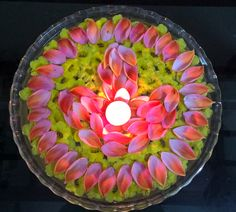 Beautiful glowing candle with flowers n petals.
