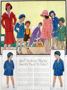 1930s Childrens Fashion Illustration Back To School