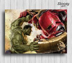 Avengers poster Hulkbuster vs Hulk wall art iron man art