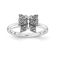 NEW STERLING SILVER BLACK PLATED BUTTERFLY STACKABLE 1/20 CTTW DIAMOND RING SZ 6 #StackableExpressions #Stackable