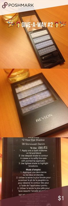 FREE REVLON Colorstay Palette - rules below apply! Brand New! Only unsealed for pics- Win 1 FREE NEW REVLON -COLOR STAY - 12 hour Lo g wear smooth eye shadow palette --- # Stonewash Denim - nice slate blue colors scheme --- silly smooth application- comes with two new applicators of different types.                         How do you be the one to get this give-a-way? Simply be the first person to purchase $20 or more in my closet in one sitting ( bundles qualify and still earn the free…