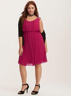 Berry Red Pleated Chiffon Lattice Strap Dress, VELVET ROSE