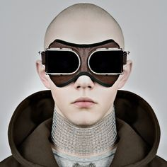 retro-futuristic avant garde couture bomber goggles - source not provided - pinned by RokStarroad.com