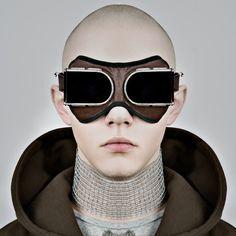 retro-futuristic avant garde couture bomber  goggles - source not provided - pinned by RokStarroad.com