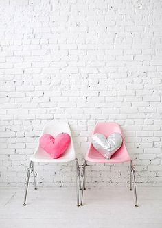 Romantic Valentine's Day Decoration and Pattern of Easy DIY: Fancy Pink DIY Heart Pillows On Pink Chairs With Chrome Leg ~ flohomedesign.com Decorating Inspiration