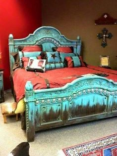 25 Western Bedroom Design And Decorating Ideas Red Bedroom Design, Bedroom Red, Dream Bedroom, Bedroom Decor, Interior Design, Bedroom Rustic, Bedroom Ideas, Turquoise Rustic Bedroom, Turquoise Headboard