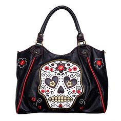 Sugar skull white bag with flowers - Ban
