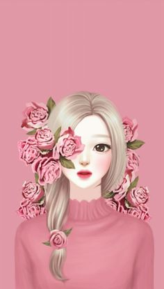 Cute wallpapers for girls cute images of flowers with names Cute Girl Wallpaper, Cute Wallpaper Backgrounds, Cute Wallpapers, Wallpaper Keren, Wallpaper Wallpapers, Cute Cartoon Girl, Cartoon Art, Korean Anime, Pink Images