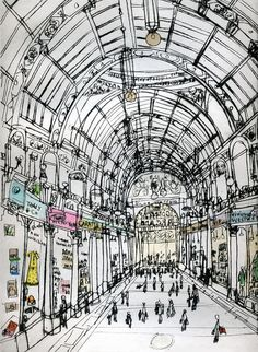 BOUTIQUE SHOPPING ARCADE/ Leeds Yorkshire England/ Signed limited edition Giclee…