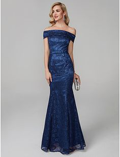 8a8840936c   79.99  Mermaid   Trumpet Off Shoulder Floor Length Lace Formal Evening  Dress with Sequin   Sash   Ribbon by TS Couture®