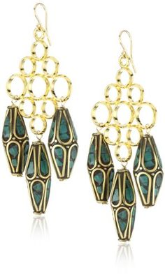 Devon Leigh Antiqued Turquoise Bead 18k Gold Dipped Earrings