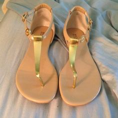 Nude michael kors bridget sandal Beautiful mk sandals. One of my favorite shoes last summer, selling because i want to buy black ones. Worn only 5 to 10 times max. In fab condition with natural signs of usage on the bottom. Patent/metallic leather. Bought at Macys last July. Michael Kors Shoes