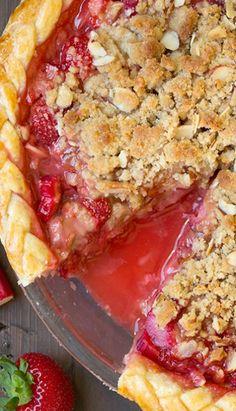 Strawberry Rhubarb Almond Crumble Pie
