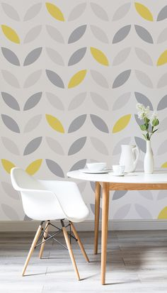 Happy yellow tones and soothing greys create the perfect balance of colours in the home. This abstract flower design is both modern and cheerful. Working wonderfully in both kitchen and dining room spaces.