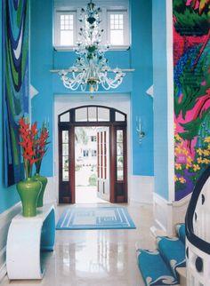 Love the foyer in this Captiva Island home, interior design by Diamond Baratta (via House of Turquoise) Home Interior, Interior And Exterior, Interior Decorating, Mansion Interior, Gray Interior, Farmhouse Interior, Exterior Doors, Bathroom Interior, Interior Ideas