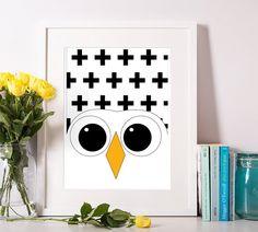 nursery print owl poster print Baby wall art by OrangeKiteLabs
