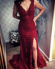 Lace V Neck Mermaid Prom Dresses Leg Split alinanova Mermaid Prom Dresses Lace, Lace Mermaid, Mermaid Style, Maroon Lace Dress, Burgundy Gown, Red Burgundy, Slit Dress, Formal Gowns, Dress Formal
