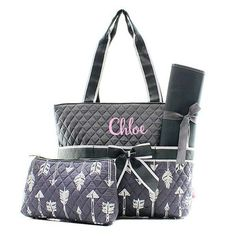 Personalized Arrow Quilted 3pc Diaper Bag - Gray