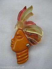 VINTAGE Bakelite African Tribal / Blackamoor / Caribbean BROOCH pin head